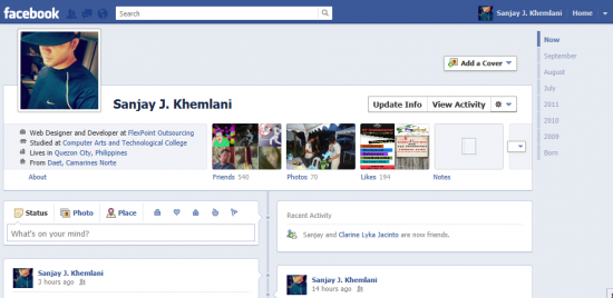 4 profile timeline in facebook 550x268 How to create Facebook Timeline in your Profile