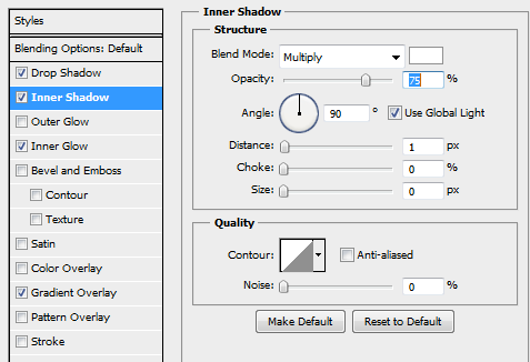 12 inner shadow for second background button How to Create Sleek Button Design in Photoshop