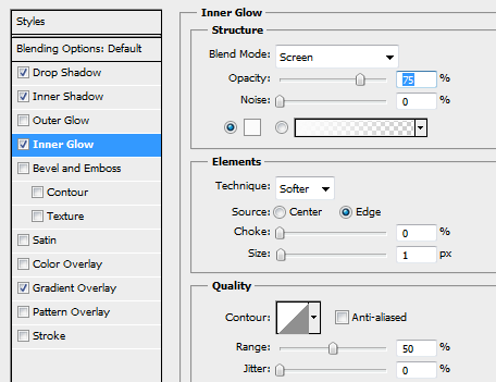 13 inner glow for second background button How to Create Sleek Button Design in Photoshop