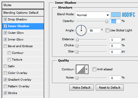 15 innershadow for focused button How to Create Mini Web UI Buttons in Photoshop