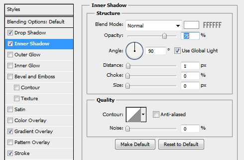 18 innershadow for yes button1 How to Create Modal Window in Photoshop