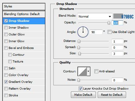 5 drop shadow for normal button1 How to Create Mini Web UI Buttons in Photoshop
