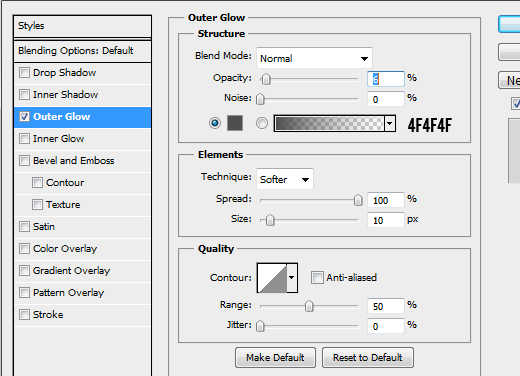 5 outer glow How to Create Modal Window in Photoshop