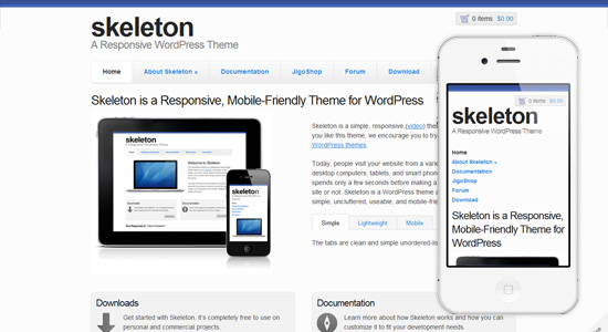 skeleton Collection of Free Responsive Wordpress Themes
