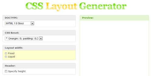 css layout generator Collection of CSS3 Generators and Tools